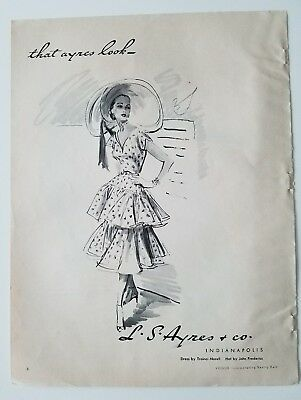 1951 LS AYRES & CO Indianapolis women's Traina norell dress that look fashion ad