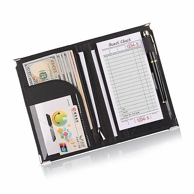 "Leather Servers Wallet ,Server Waiter Book Organizer Restaurant (Black/8""  5...."