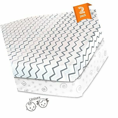 Pack N Play Playard Portable Mini Crib Sheet Set  2 Pack Jersey Cotton Fitted...