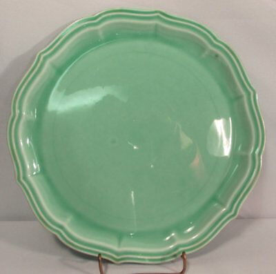 Vintage W. S. George Pottery Co Pastel Green 9 3/8 Inch Rainbow Plate #1208