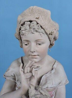 Antique Turn Of The Century Hand Knit Baby Bonnet 4 Dress W Florals