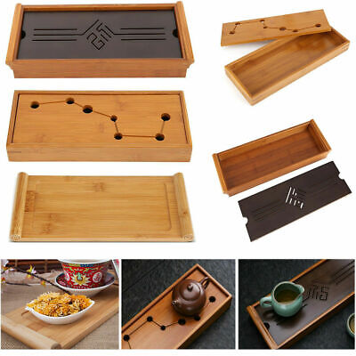 Bamboo Tea Tray Cup Plate Serving Tabletop Tray Kung Fu Tea Accessory 3 Types HG
