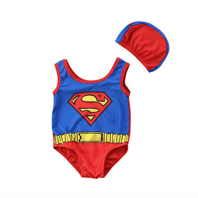 Newborn Baby Boys Superman Swimwear Swimsuit Beachwear Cap Bathing Suit Costume