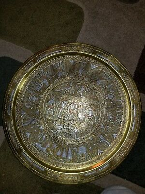Egyptian Revival Deocrative Mixed Metal Tray/art Silver, Brass, and Copper