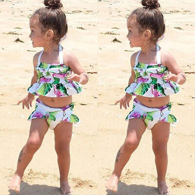 Kid Baby Girls Flamingo Tankini Swimwear Swimsuit Bikini Bathing Suit Beach HOT