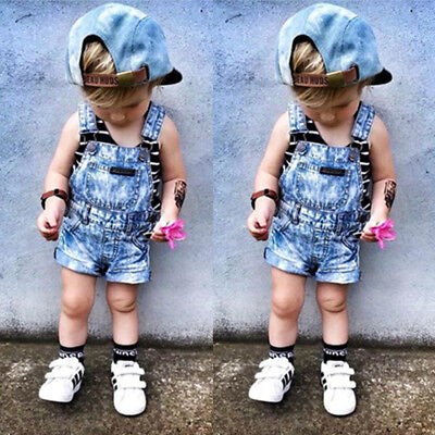 AU Kids Baby Girls Boys Denim Bib Pants Romper Shorts Overalls Outfits Clothes