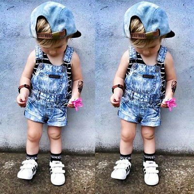 Kids Baby Girls Boys Deinm Bib Pants Romper Shorts Overalls Outfits Clothes AU