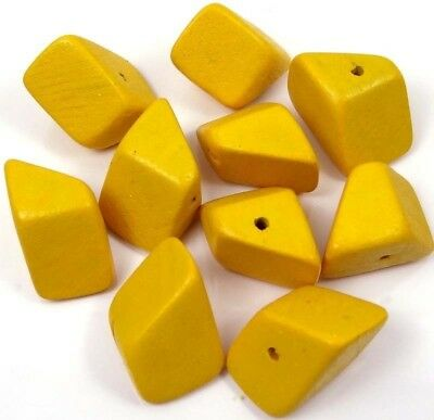 24x14mm Hedron Geometric Yellow Wood Polyhedron Figure Solid  Beads (10)