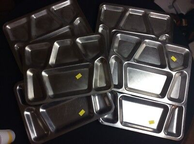 Lot Of 6 WWII Metal Mess Hall Trays Stamped FTP Rare Authentic