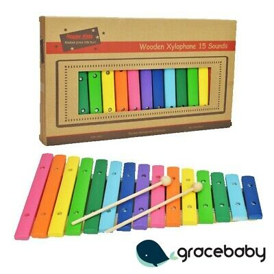 Kids Wooden Large Xylophone Colourful Musical Toy Set 18m+