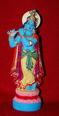 Lord Krishna - Hand Painted Ganges Clay Statue - New