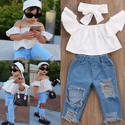USA Toddler Kids Girls Off Shoulder Tops Denim Pants Jeans 3PCS Outfits Clothes