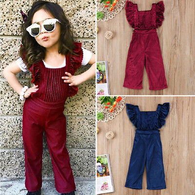 US Stock Toddler Baby Girls Backless Bib Pants Romper Jumpsuit Outfit Clothes