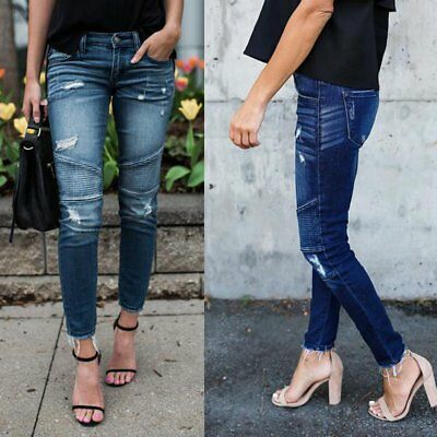 New Womens Ladies Celeb Stretch Ripped Skinny Jeans High Waist Denim Pants Jeans