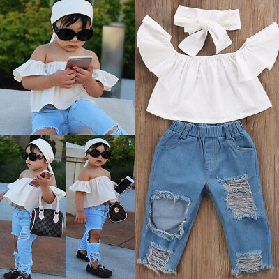 Stlylish Toddler Girls Kids Off Shoulder Tops Denim Ripped Pants Outfits Clothes