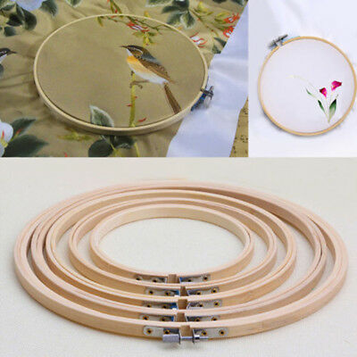 Circle Frame Art Cross Stitch Tapestry Hoop Embroidery Wooden Diy 5 Ring Bamboo