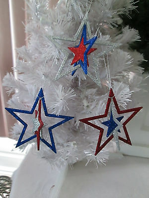 """Lot of 3 - 4"""" Patriotic Red Silver & Blue Glitter Star Ornaments, July 4th"""