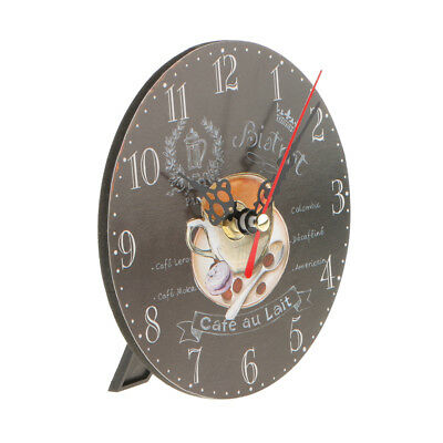 Vintage Wooden Wall Clock Round Table Desk Clock Antique Home Decorative 1#