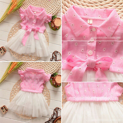 Princess Newborn Kids Baby Girls Summer Floral Bowknot Tulle Tutu Party Dresses