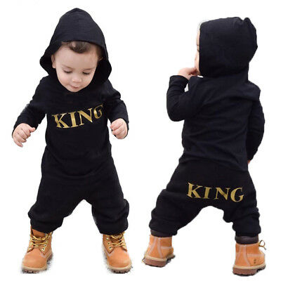 US Newborn Infant Baby Boy Kid King Romper Jumpsuit Bodysuit Clothes Outfits Hot