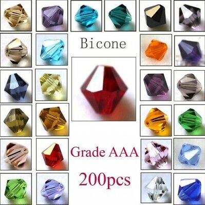 Wholesale 200pcs Bicone Faceted 5301# Crystal Glass Loose Spacer Beads DIY 4mm