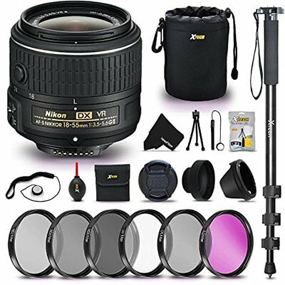 Nikon AF-P DX NIKKOR 18-55mm f/3.5-5.6G VR Lens for Nikon DSLR Cameras + MORE