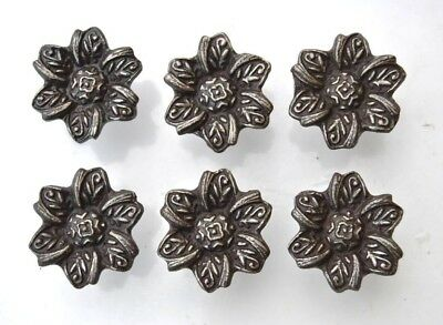 Vintage cast iron floral cabinet drawer knobs handles pull rustic 6pc