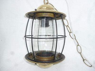 ANTIQUE INDUSTRIAL STYLE BRASS CAGED LANTERN STYLE CEILING LIGHT - 27cm long
