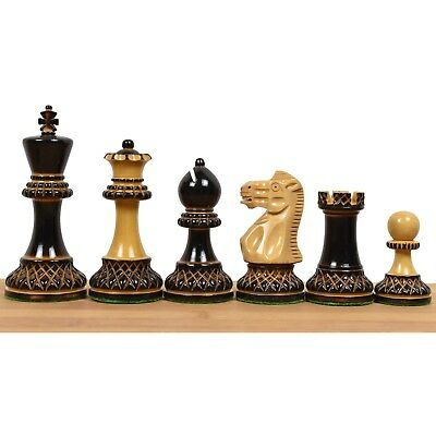 "3.9"" Marshall Chess Pieces Set - Burnt & Carved weighted wood - Lacquer Finish"