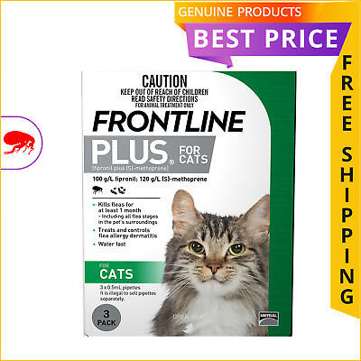 Frontline Plus Flea Prevention for Cats Green Pack 3 Doses