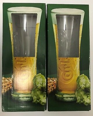 2 x RARE COLLECTABLE CARLSBERG BEER GLASS - NEW & BOXED (EUROPE)