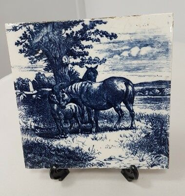 C1890s Mintons China Works Stoke On Trent Tile Horse Foal blue & White lot t4