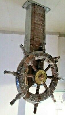 Real ANTIQUE STEERING with BASE -  WOODEN & BRASS -Heavy Weight -RARE (1279)