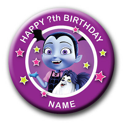 Personalised Vamperina Birthday Badges / Fridge Magnet / Mirror Gift