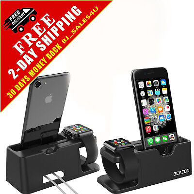 Apple Watch Stand Charging Docking Iphone X Station 38Mm 42mm Phone Black Holder