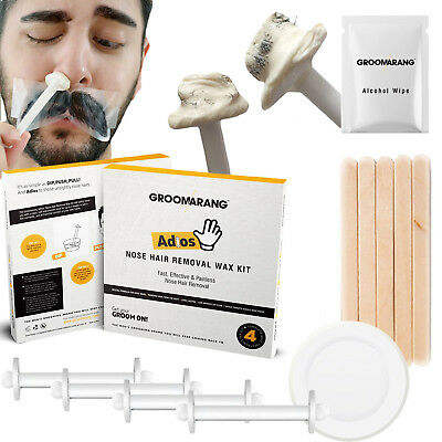 Groomarang Adios Nose Ear Hair Removal Wax Kit Painless & Easy Mens Nasal Waxing