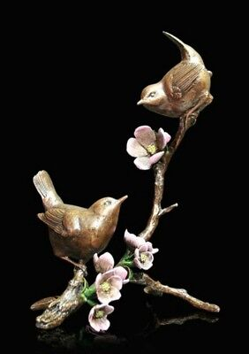 Wren Pair Apple Blossom Bronze Foundry Cast Sculpture Michael Simpson [1022]