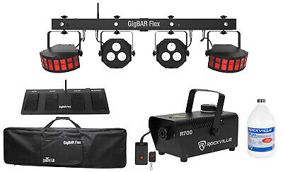 Chauvet DJ GigBAR Flex (2) Derby+(2) Par Can Lights+Footswitch+Fogger+Gal. Fluid