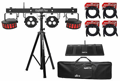 Chauvet DJ GigBAR Flex (2) Derby+(2) Par Can Lights+Footswitch+Tripod+DMX Cables