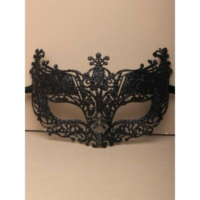 Black glitter filligree masquerade mask with ties, Ball , Party, Halloween,Fun