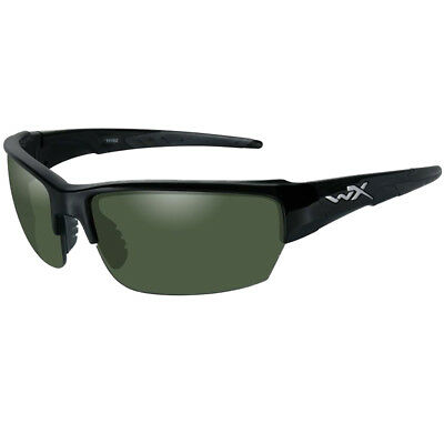 Wiley X Wx Saint Glasses Polarized Ballistic Smoke Green Lens Gloss Black Frame