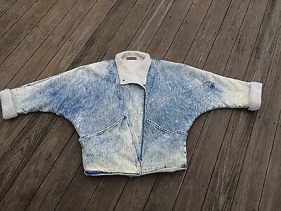 Vintage 80's Bebe Furrrina Denim Jacket Sherpa Lined Acid Wash Jean