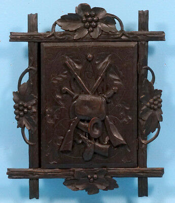 Antique German Black Forest Wood Carving Hunt WALL KEY JEWELRY CABINET Gun c1900