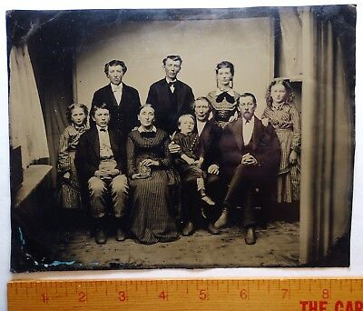 RARE Full Plate Tintype Photo  - Case Family Auburn NY ca 1860s Recent Discovery