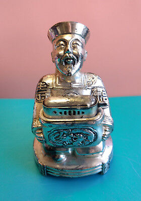 Old Vtg Collectible Chinese Japanese Asian Man Metal Table Lighter