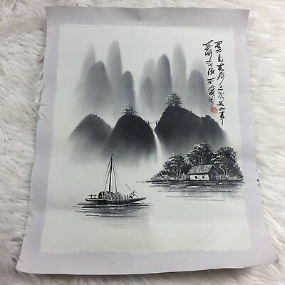 Chinese Hanging Scroll Picture Painting Sailing Water Asian Art Antique China