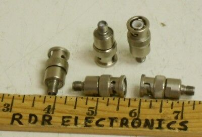 Lot of 5 - BNC Male to SMA Female Coaxial RF Connector Adapter