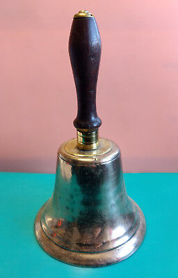 Old Vtg Collectible Metal Wood Handle Teacher School Church Dinner Ringing Bell