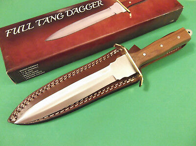"FULL TANG DAGGER 203363 wood handle fixed blade knife 11 3/8"" overall PA3363 NEW"