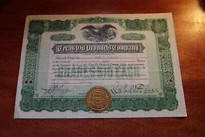 Texas Oil Products Company TX  STOCK CERTIFICATE Rare 1922